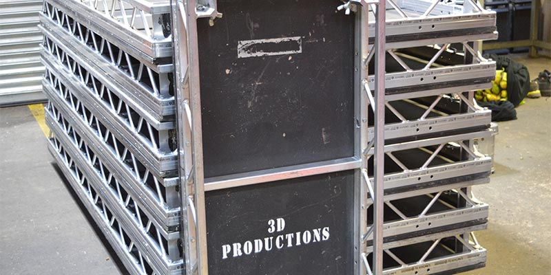 Stack of 8x4ft Prolyte LiteDeck units with 3D Productions Stencil