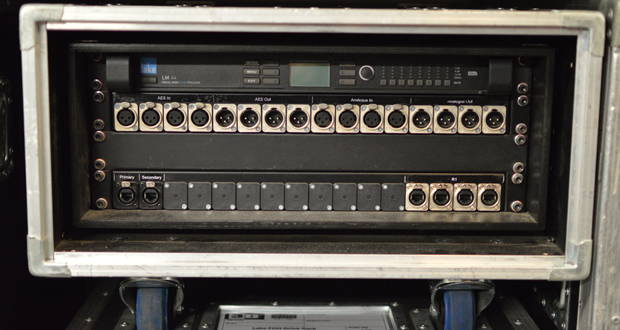Lake LM44 stage box rack with input and output panels